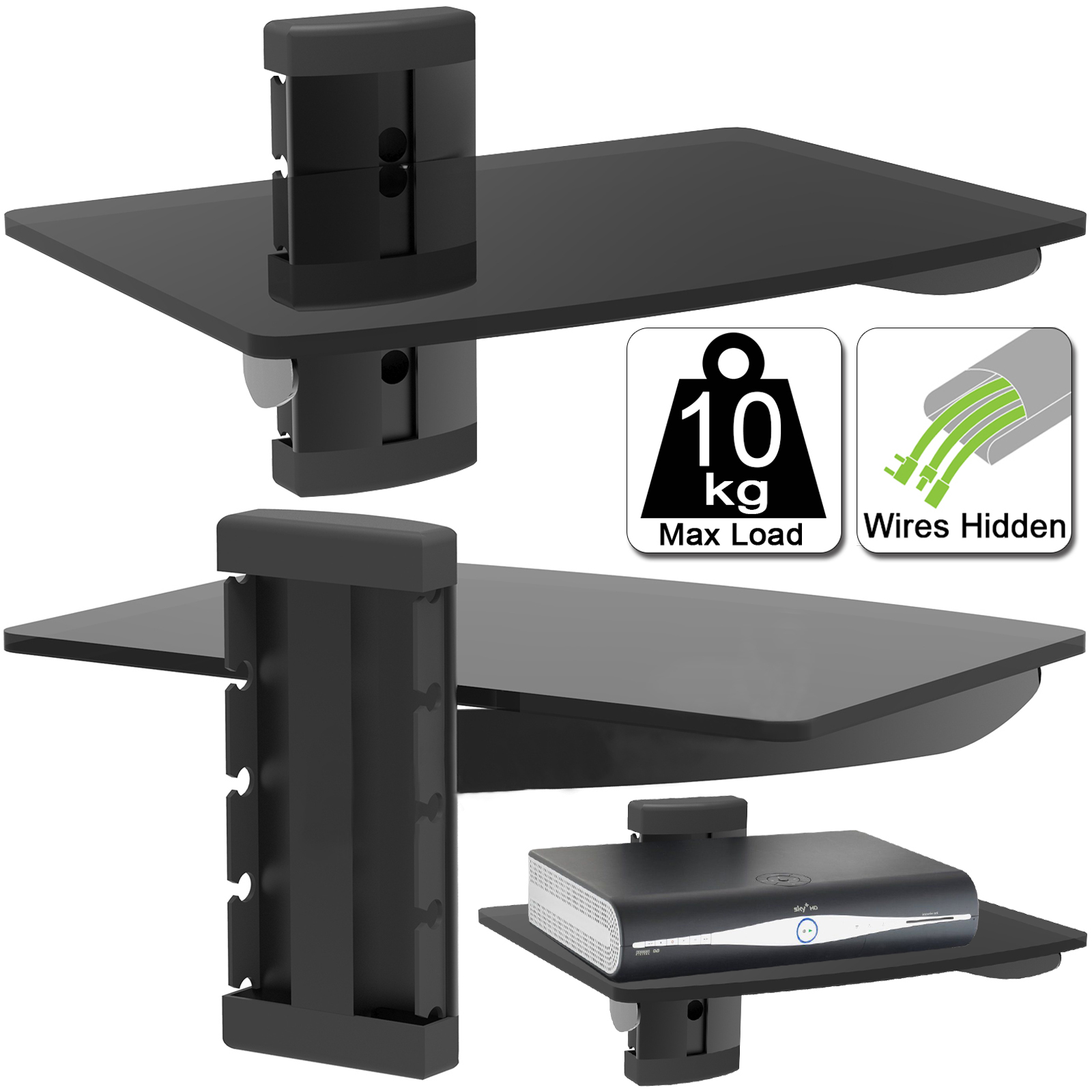 Details About Black Single One Floating Glass Shelf Wall Mount Bracket Stand Dvd Sky Console