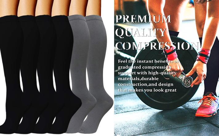 Unisexe Hommes Femmes Sécurité TVP Comfy Vol Voyage Compression Knee High Socks