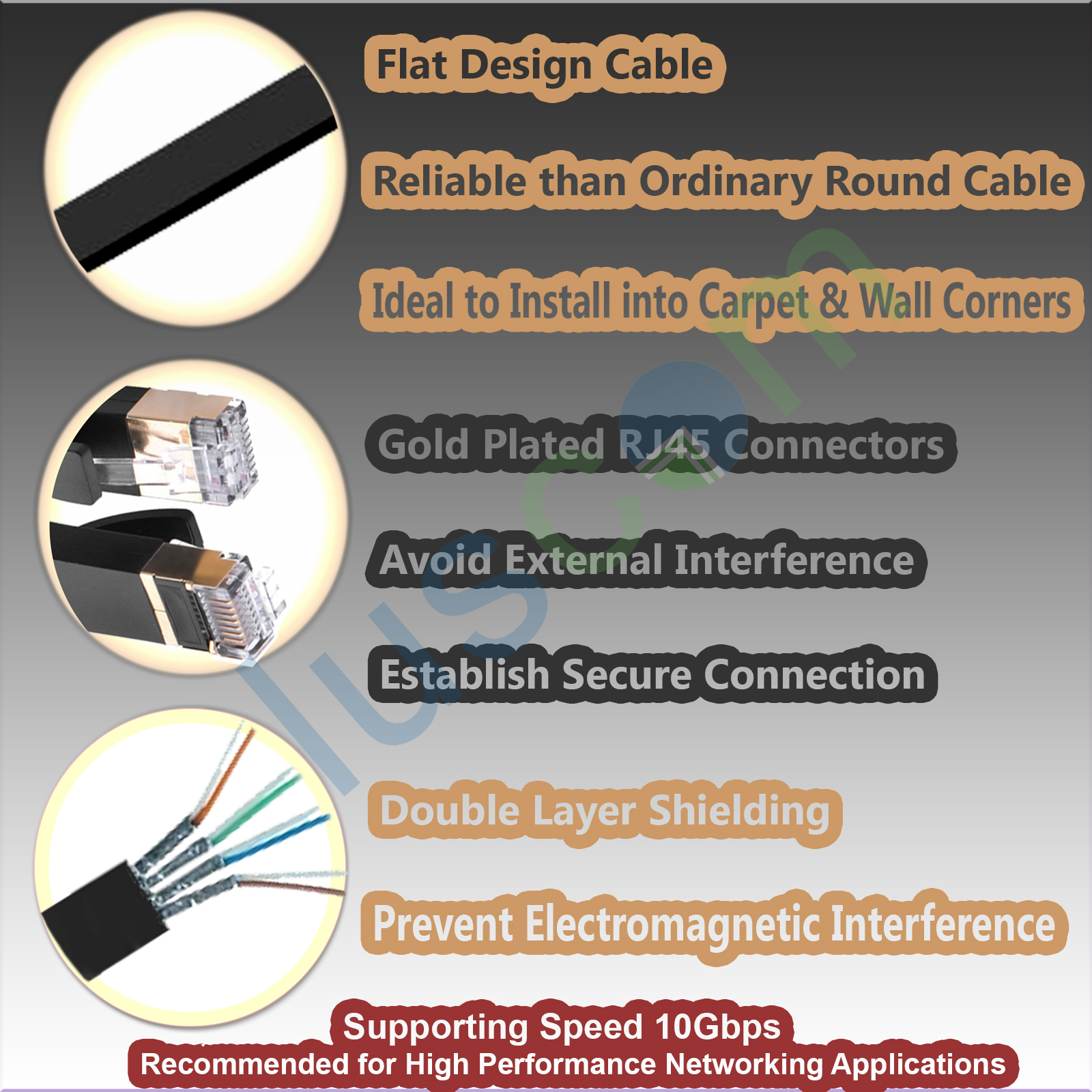 Rj45 Cat7 Network Ethernet Sstp 10gbps Gigabit Ultra Thin Patch Flat Shielded Wiring Diagram Specifications