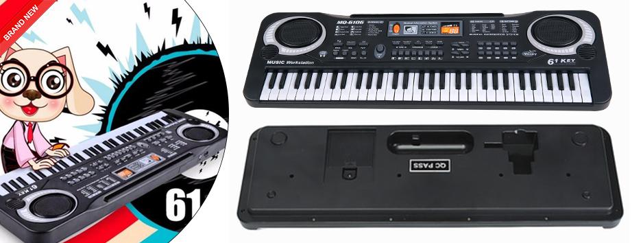61 Keys Digital Electronic Keyboard Amp Microphone Electric