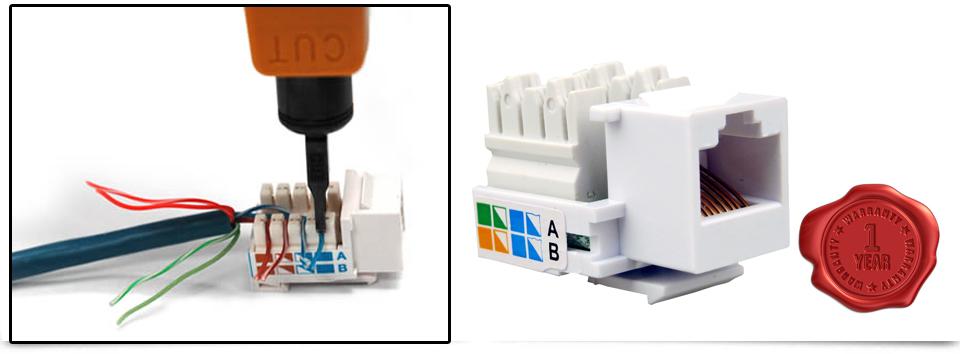6x Rj45 Keystone Jack Wall End Plug Cat 5e 6 Ethernet Lan