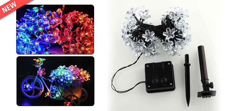 Solar Fairy String Lights 50 Led Blossom Flower Christams